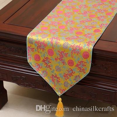 Großhandel Extra Lange Chinesische Drachen Seide Stoff Tischläufer ...