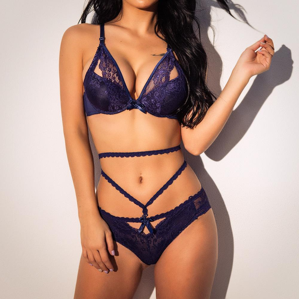 574046e02228a Two Piece Lingerie Push Up Bra And Strappy Brief Suit Lingerie Sets Lace  Hollow out Bralette Panties Sexy Bandage WS9736 Online with  35.2 Piece on  ...