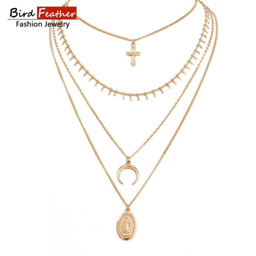 02ebc7cbc3c 2019 Gold Color Choker Necklace For Women Long 4 Layers Moon Pendant Chain  Necklaces   Pendants Lace Velvet Chokers Fashion Jewelry From Ylingnei
