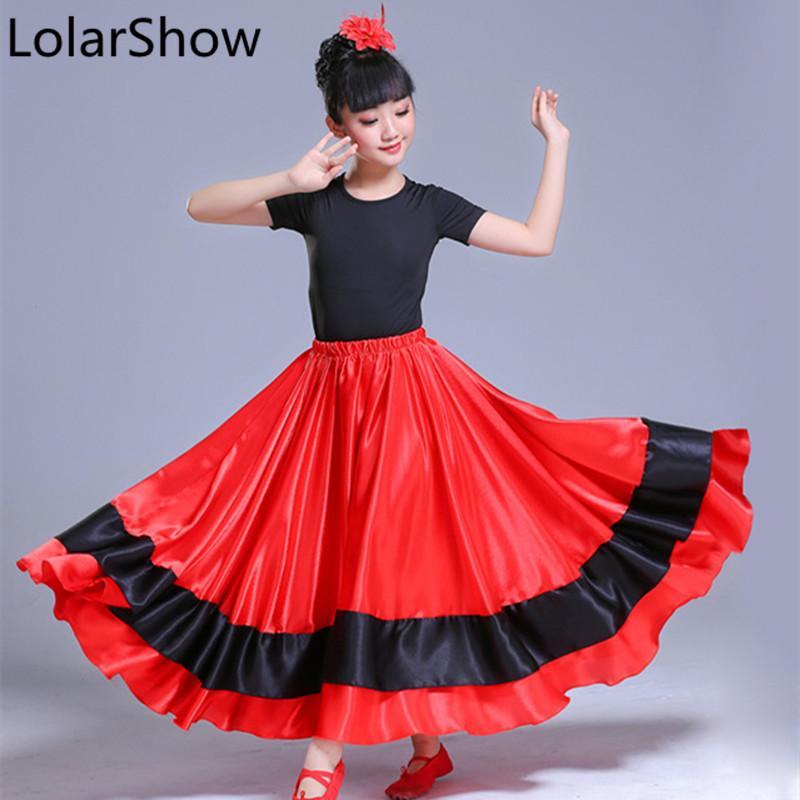 2019 Spanish Costume Girl Red Long Flamenco Skirt Ballroom Dance
