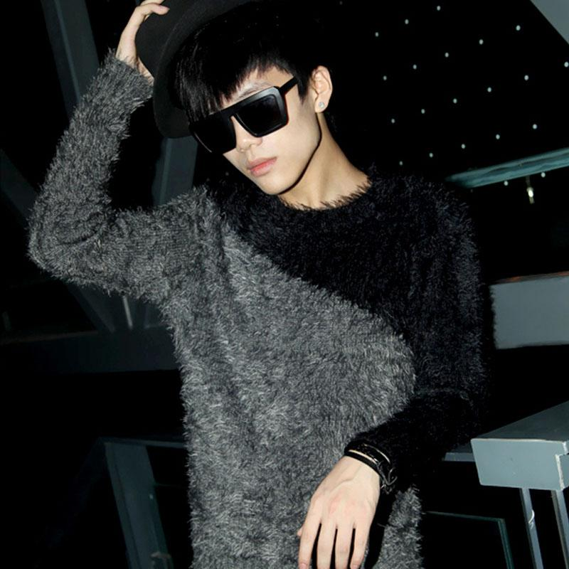 NEW ! 2016 Men's clothing autumn and winter slim novelty mohair knitted sweater all-match fashion knitted singer costumes