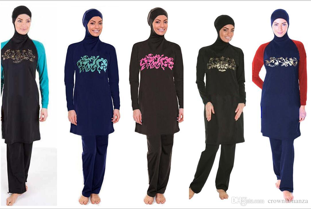 81d9330f548674 Acquista Costume Da Bagno Islamico Costume Da Bagno Musulmano Le Donne Hijab  Burkinis Swimwear Di Copertura Integrale Costume Da Bagno Di Nuoto Musulmano  ...
