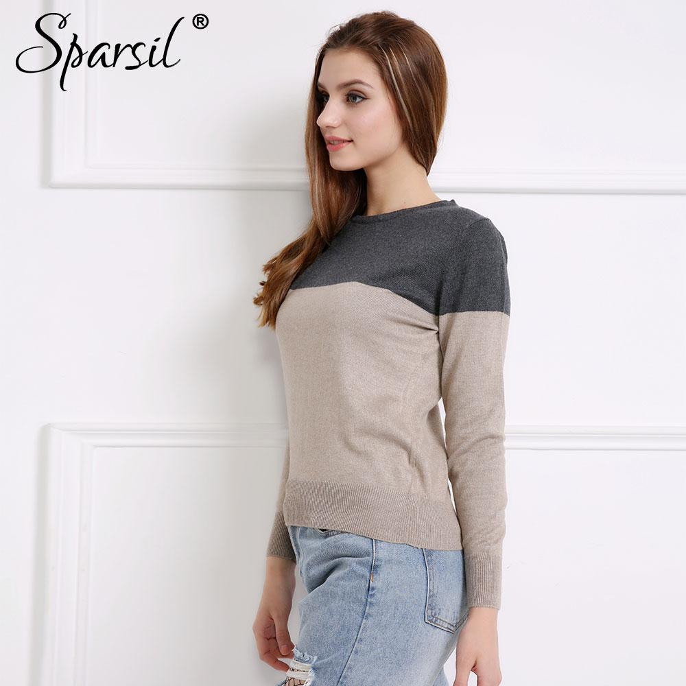 Sparsil Women Autumn&Winter Cashmere Blend Sweater Patchwork Pullovers O-Neck Knitted Soft Warm Pullover Female High Qaultiy
