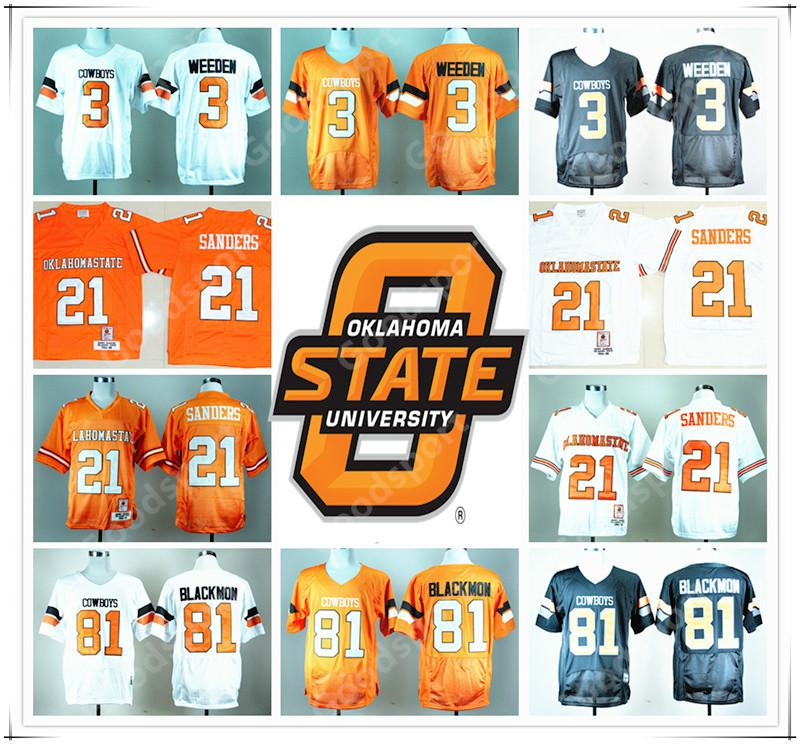 sale retailer 11131 2b62c Stitched NCAA Oklahoma State College Barry Sanders 21 Justin Blackmon 81  Brandon Weeden 3 Football Jersey Rugby jerseys Wholesale HOT