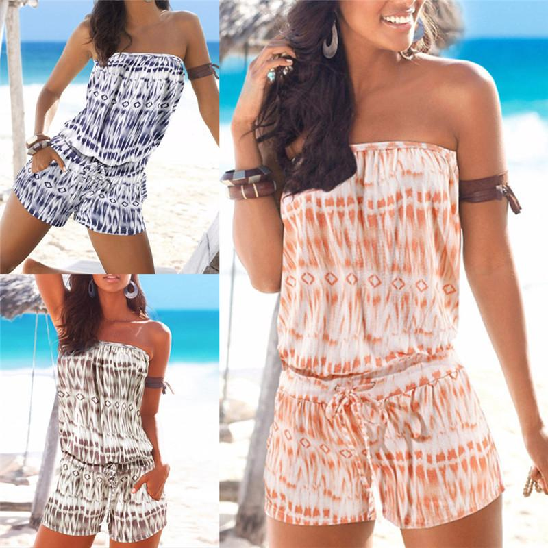 0392da845b0 2019 2018 Backless Sexy Overall Casual Beach Short Pants Women Strapless  Playsuit Summer Striped Rompers Ruffles Sleeve Jumpsuit From Vikey16