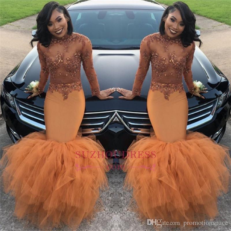 2k18 아프리카 긴 소매 댄스 파티 드레스 티어드 스커트 높은 목 레이스를 통해 볼 수 Applique 탑 플러스 사이즈 이브닝 가운 BA8084