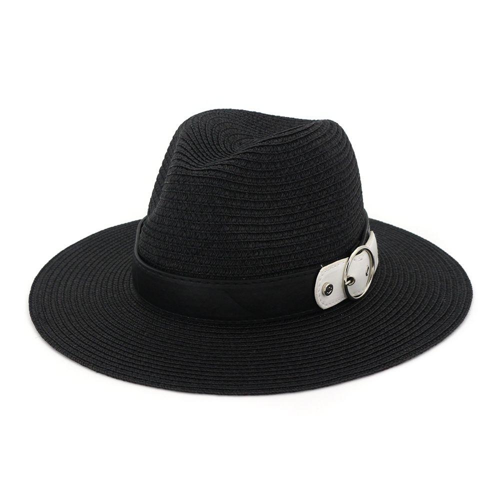 0a77dfc9841 Women Sun Leather Chain Flat Straw Wide Brim Black White Summer Hats For Women  Beach Female Chapeau Fur Hats Men Hats From Maxcomet