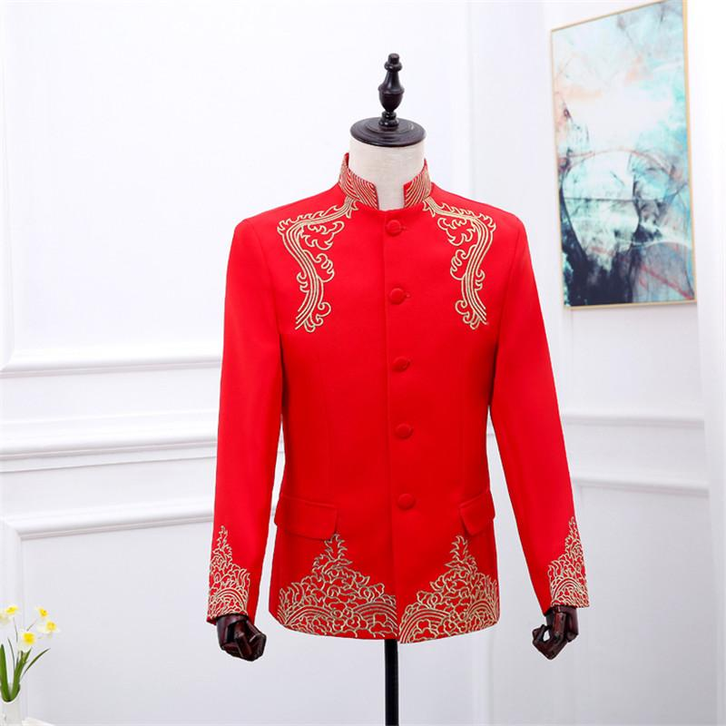 2019 Red Chinese Tunic Mens Tunic Mandarin Collar Jacket With Embroidery  Men Wedding Suit Men Costume Chinese Collar Suit Jacket From Baldwing 4b287254d