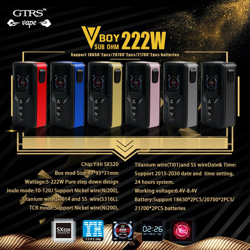 original gtrs vboy 222w 20700 tc box mod with sx520 chip & 222w max output  & full color display e cig vape mod no battery electronic starter kit  starter kit