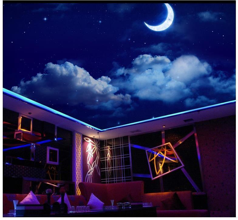 3d wallpaper benutzerdefinierte foto decke wandbild tapete Traum Nachthimmel Sternenmond Wohnzimmer Zenith Decke Fresko Zenith wandbild dekoration