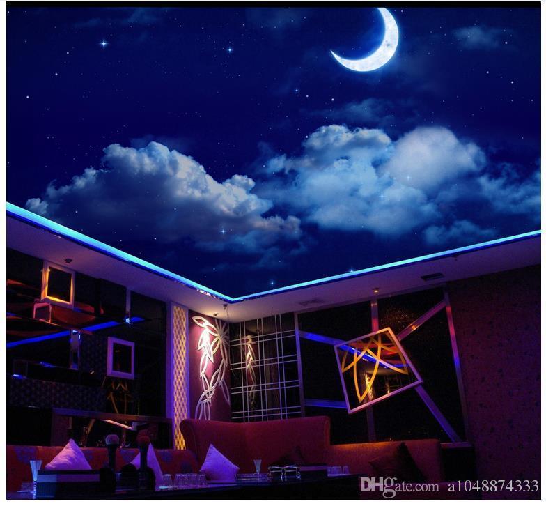 3d wallpaper custom photo ceiling mural wallpaper Dream Night Sky Starry Moon Living Room Zenith Ceiling Fresco Zenith mural decoration