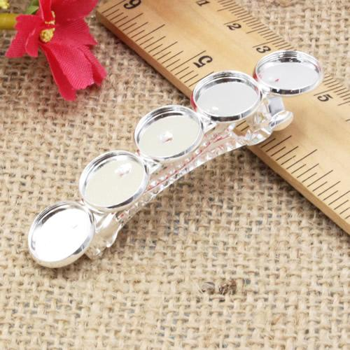 Fit 12mm cabochon Metallo Forcine In Bianco impostazioni Cabochon Capelli Clip di Clip accessori DIY Forcine 10 pz / lotto K05110