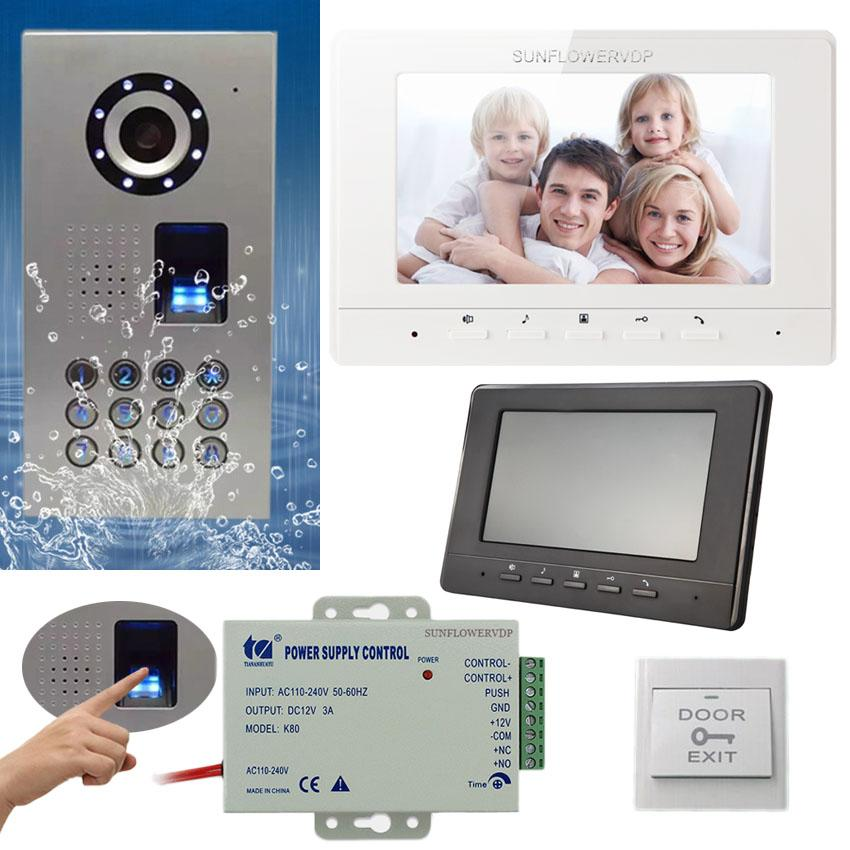 Neue Video Intercom Fingerprint Tastatur Home Video Intercom IP65 Wasserdichte CCD Kamera Wired Color Monitor 7