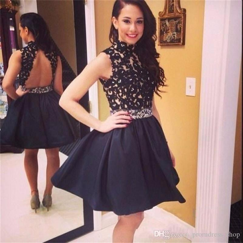 Sexy Open Back A Line Mini Party Dresses Black Appliques Cheap Short Prom Party Dress High Neck Modest Homecoming Dresses