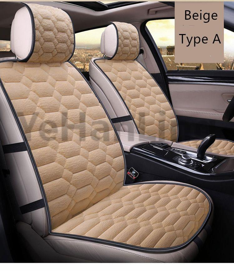 light Coffee Lovely 3 Pcs Car Seat Covers Car Interior Seat Cover Cushion Pad Mat Auto Supplies For Car Chair Neck Pillow Interior Accessories