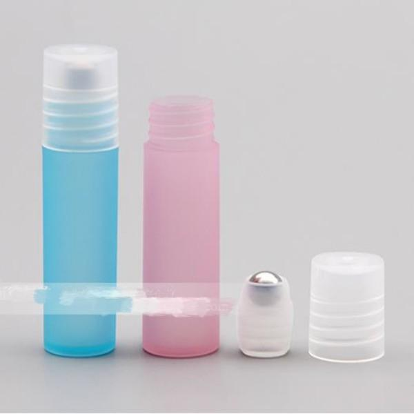 3 5 8 10ML Mini Travel Refillable Rollon Empty Empty Bottle Frosted Plastic Rollon Bottle With Stainless Steel Ball Essential Oil Lip Gloss