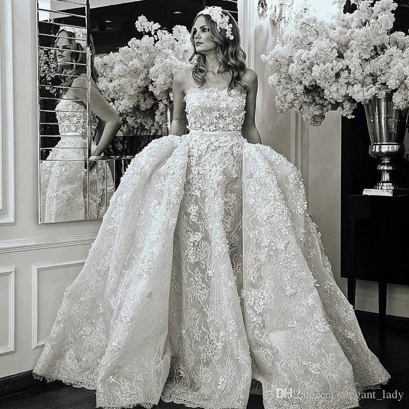09cf564e23da Discount 3D Floral Wedding Dresses With Overskirt 2018 Modest Full Lace  Flower Strapless Elie Saab Church Train Castle Civil Wedding Gown Colored  Wedding ...