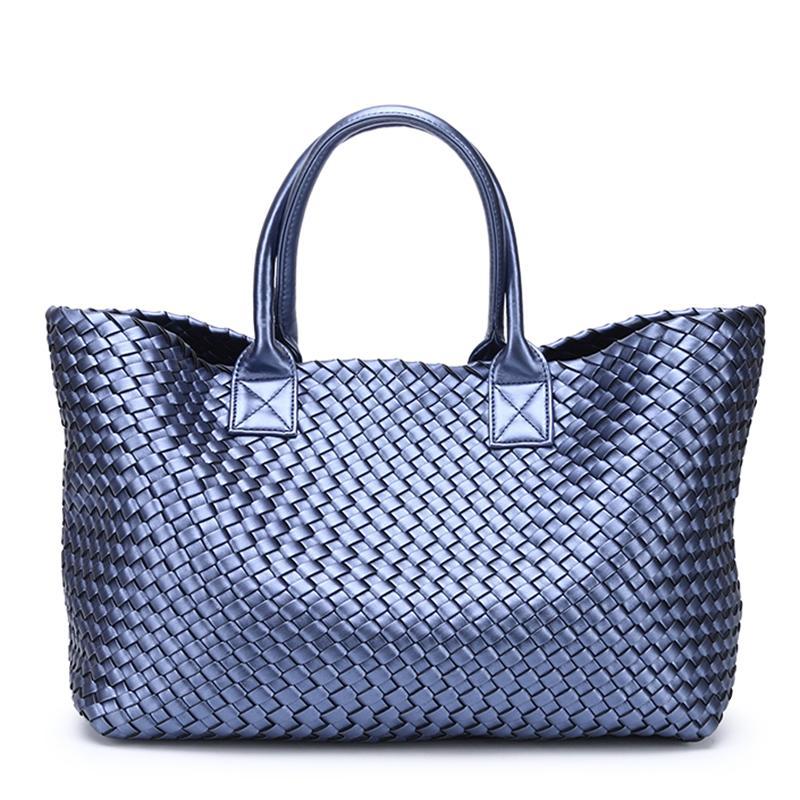 6e1cd446fa Women S Handbags Weaving PU Leather Female Big Bag 2018 Shoulder Travel  Shopping Bag Large Capacity Basket Bolsa Feminina Satchels Leather Purses  From ...