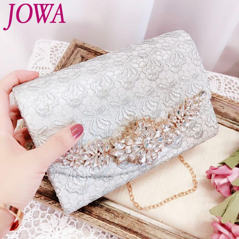 2018 New Design Women's Evening Bags Fashion Lace Small Handbag Lady Pink Flap Pocket Wedding Party Shiny Diamond Clutch 2 Color Y18103004