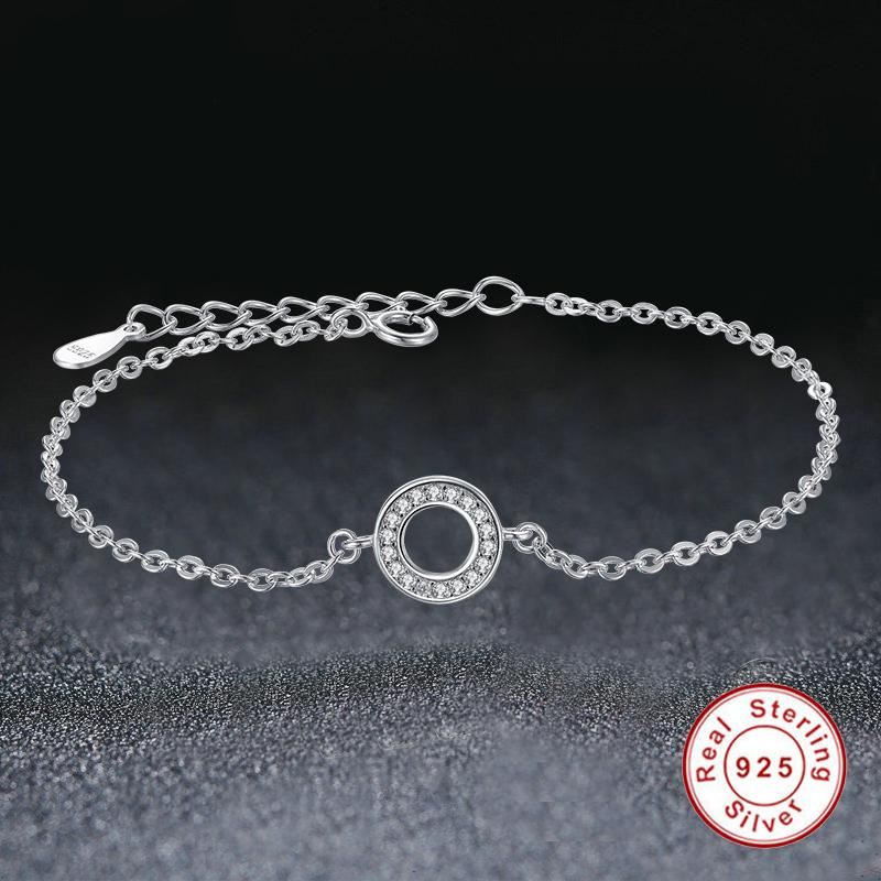 ELESHE Solid S925 Sterling Silver Bracelet Crystal Clear CZ Circle Round Charm Bracelet for Women Wedding Engagement Jewelry