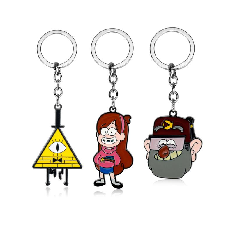 Drama Gravity Falls Mysteries Bill Cipher Wheel Party Time Keychain Keyring  Mabel Stanley Cartoon Shape Pendant Key Chain