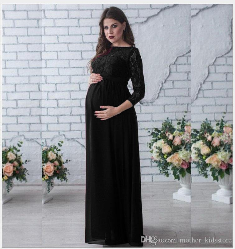 2c57bf163998 2019 Pregnant Women Photography Props Long Sleeve Lace Maternity Gown Maxi  Dress Hot Sale White/Wine Red Pregnancy Women Dress From Mother_kidsstore,  ...