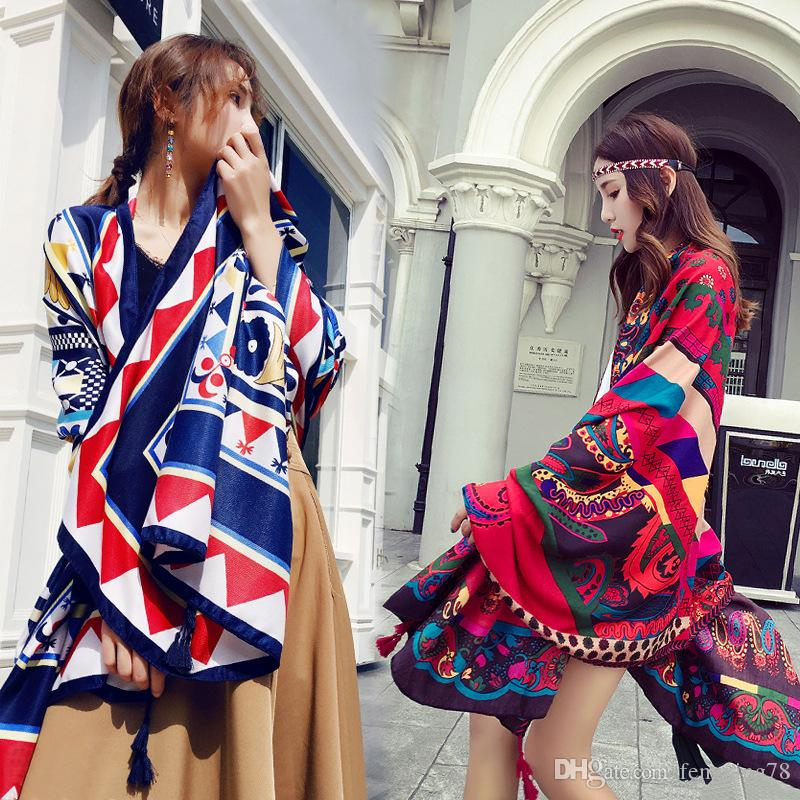 Wholesale New 2018 Beach spring Autumn Summer Scarf Floral pattern style one size Classic restore shawl Beach towels Free shipping