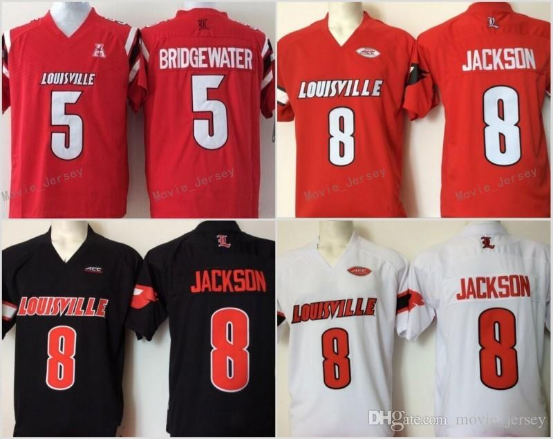 2019 Cheap Mens College Louisville Cardinals Stitched 8 Lamar Jackson 5  Bridgewater Red Black White Football Jerseys From Movie jersey df16c1a87