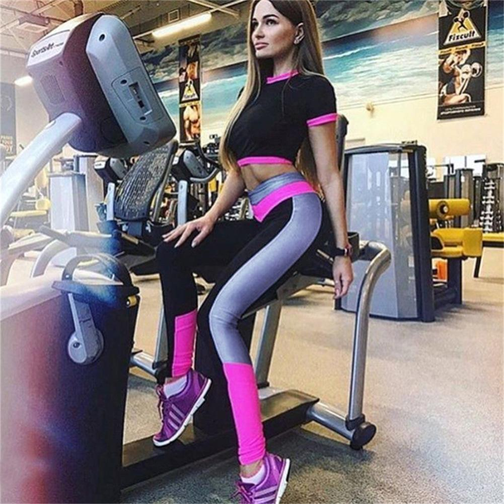 2Pcs Womens Compression Fitness Leggings Running Sport Short Sleeve Yoga Set Gym Workout Wear Top Pants Yoga Suit