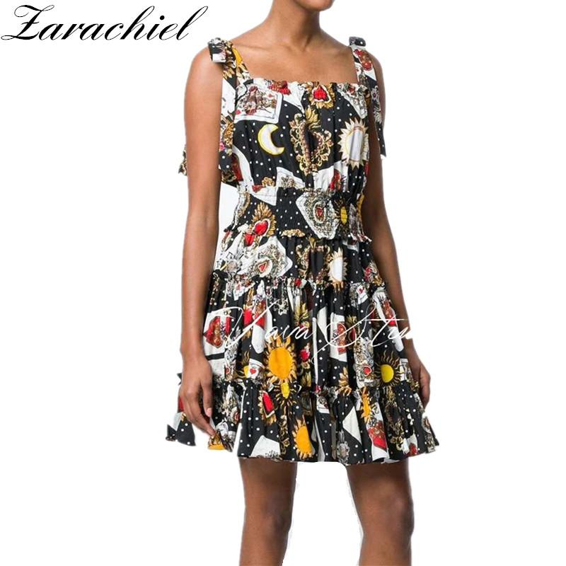 4d98cd97ab0f0 2019 Runway Designer 2018 Summer Fashion Poker Print Flower Dress Women  Sexy Slash Neck With Tied Strap Dress Party Gown Club From Rebecco