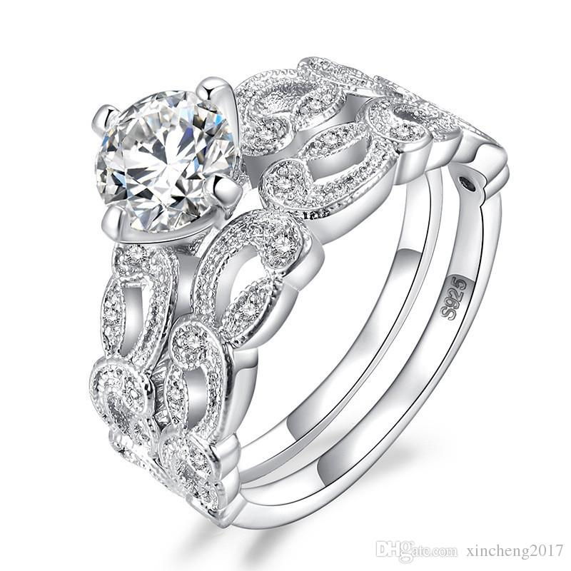 2019 Cute Female Wedding Ring Set Luxury 18kt White Gold Filled Ring