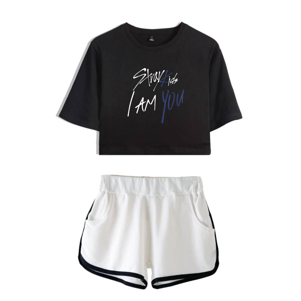 36038c28d153f Fashion Stray Kids I Am You 2018 Cool Summer Shorts And T-shirts Women Two  Piece Sets Pop Crop Top Soft Sex Clothes