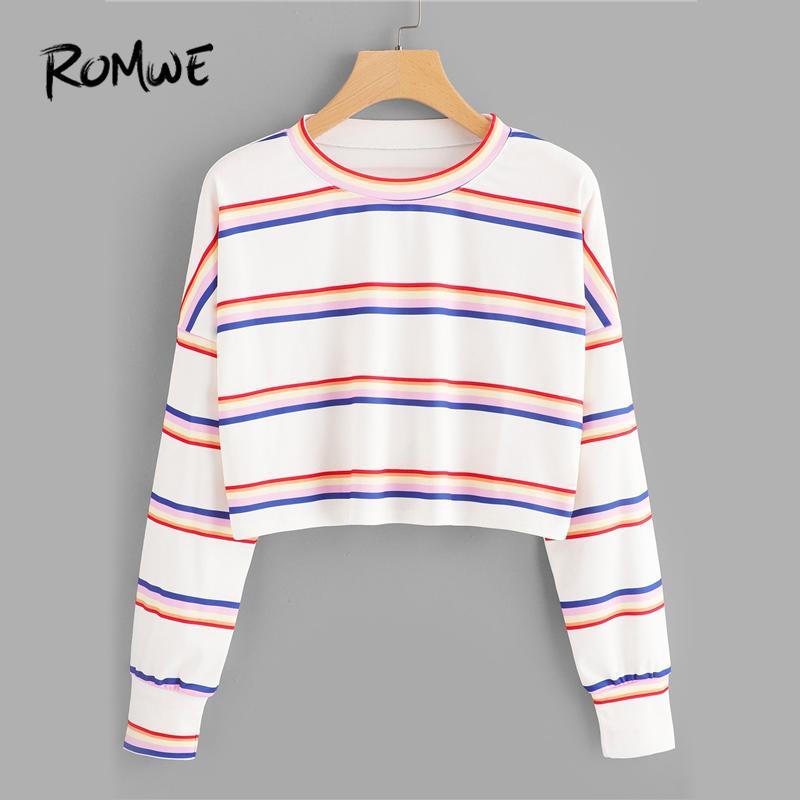 c6c85258d0522 20188 ROMWE Drop épaule rayé blanc Tee Ladies Casual Automne Crop Tops  O-Neck À Manches Longues Pulls Femme Printemps Nouveau Style T Shirt