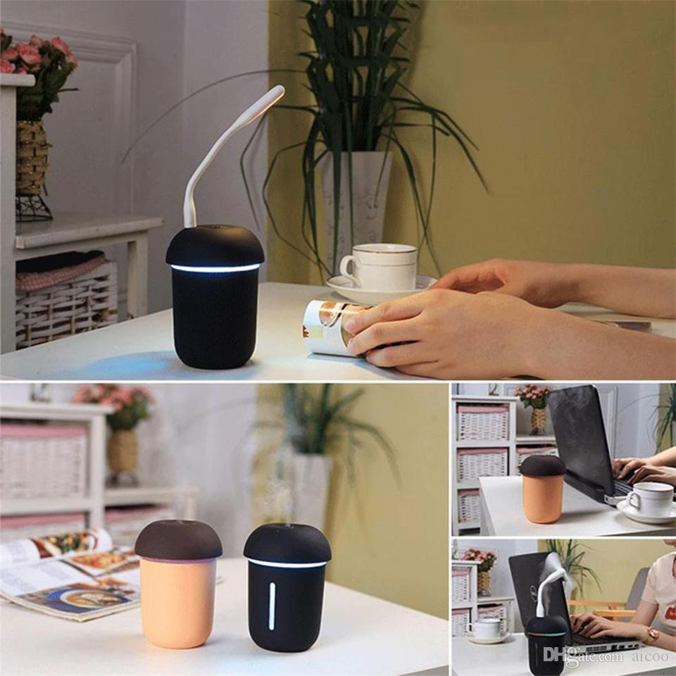 Mushroom Lamp Humidifier Portable Baby Small Mini USB Fan 3 In 1 LED Air Freshener Purifier For Home Bedroom Office Car Retail Package Aicoo