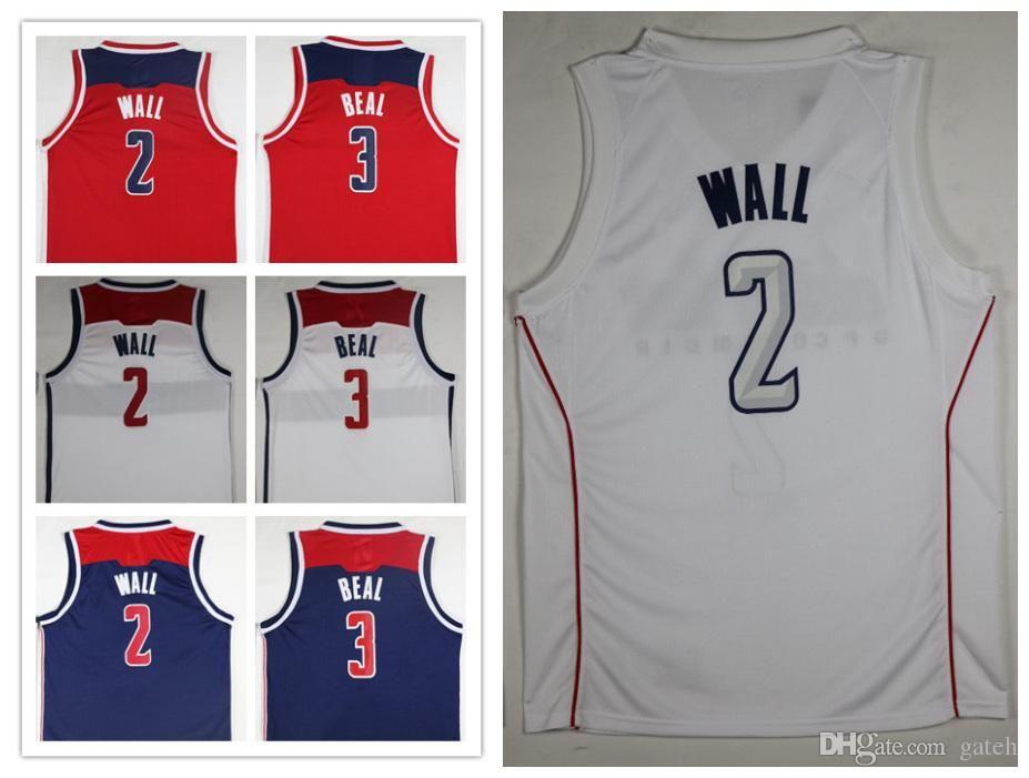 2018 Ncaa Wholesale 2018 New Cheap 2  Wall Jerseys Red White 3  Beal  Basketball Jersey Embroidery Logos John Wall City Jerseys From W2018 233aa8a8e