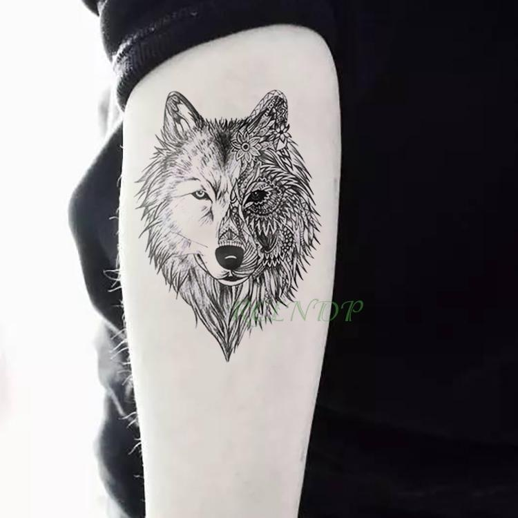 Etiqueta Engomada Temporal Impermeable Del Tatuaje Animal Lobo León