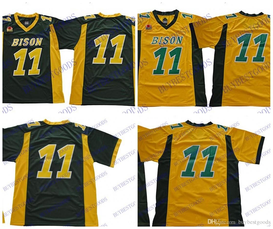 brand new 66775 ce54b Men NDSU North Dakota State Bison 11 Carson Wentz NCAA College Football  Jerseys Yellow Green Stitched Mix Order