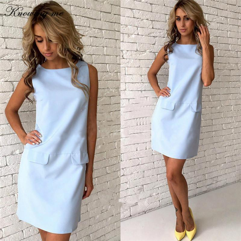 aed789bf3cd4f3 2019 Knowing Me Summer O Neck Straight Mini Dresses Women Fake Pocket  Sleeveless Casual Tank Dress 2018 Ladies Beach Dress From Lemon888