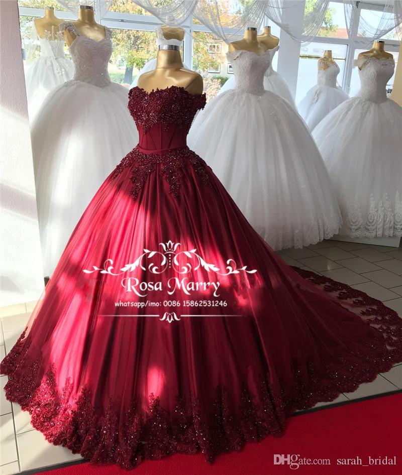 c31e37037a Compre Lujo Rojo Dulce 16 Vestidos De Quinceañera 2019 Vestido De Bola De  Encaje Con Lentejuelas Con Cuentas Más El Tamaño Barato Árabe Vestidos 15  Anos ...