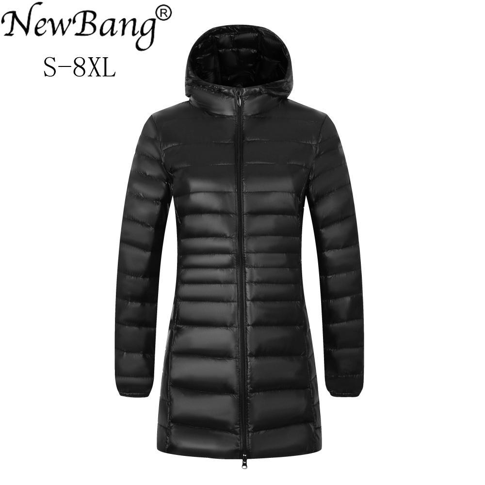 newest 4f320 7d45d NewBang Marke Plus 8XL 7XL Damen Mäntel Lange Winter Daunenjacke Ultra  Light Daunenjacke Frauen Mit Kapuze Weibliche Warme Mantel Oberbekleidung