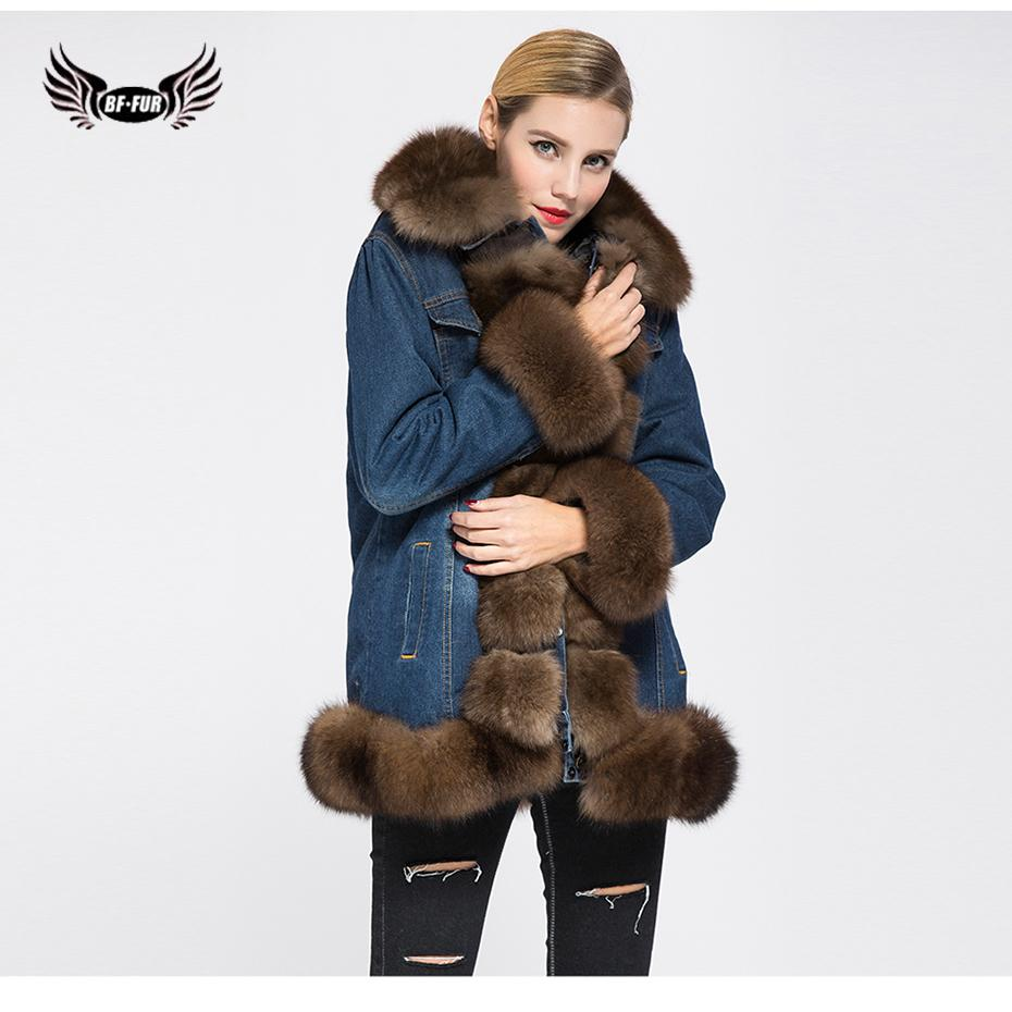 bf19913e881 BFFUR Parka Real Fur Thick Warm Womens Coats 2018 Winter Fashion Genuine  Fox Fur Wide Waisted Russian Fur Coats Turn Down Collar C18110301 Jacket  Dress ...