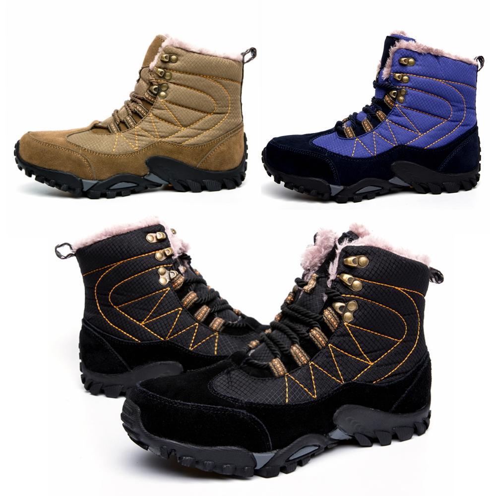 Botas Al De Botines Sin Moda Libre Hombre Invierno Cálidos Para Cordones Forrado Zapatillas Aire Deportivas Deporte Piel Nieve srxCQdth