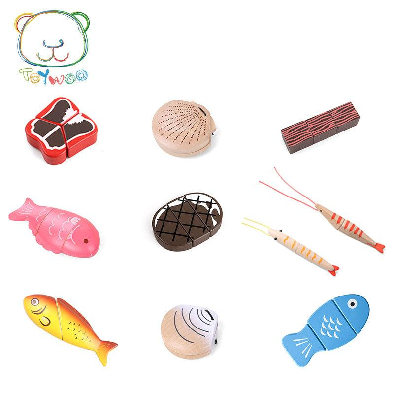 [Toy Woo] Toys Kids Kitchen Educational Wooden House Simulation Fish Meat  Sea Montessori Education Kitchen Toys Gifts