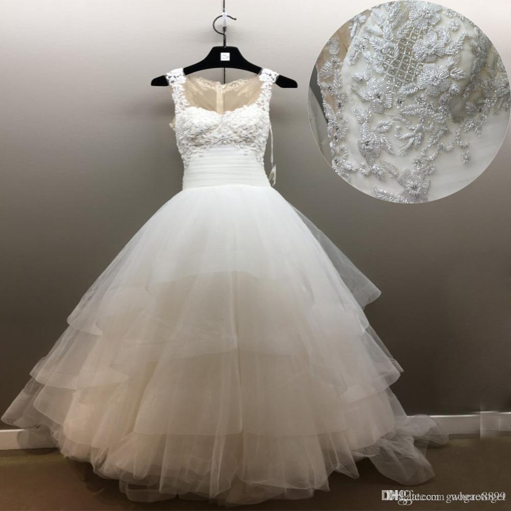 3b8bc461fc03 Discount 2018 Gorgeous White Beaded Wedding Dresses Ruffles Cape Sleeves  Tiere Tulle Skirt A Line Illusion Backless Country Bridal Dresses Gowns  Wedding ...