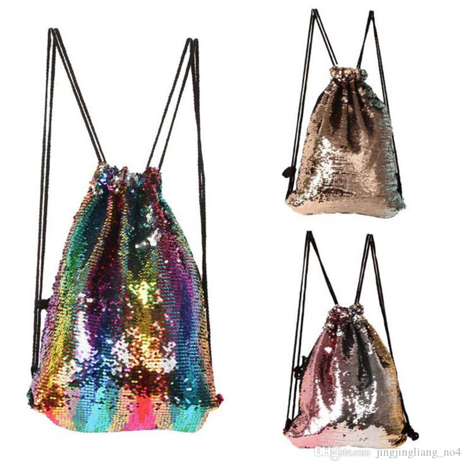 Mermaid Sequins Drawstring Shoulder Bag Reversible Sequin Backpack Glittering Dance Bag Shopping Travel Sports Gym Bags 3 Colors OOA3981