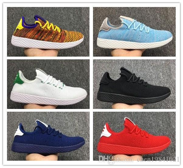 buy popular ea2d1 758a3 New Pharrell Williams X Tennis Hu Womens Mens Running Shoes Stan Smith  Primeknit Multicolor Trainers Sports Jogging Sneakers Size 36 45 Best Trail  Running ...