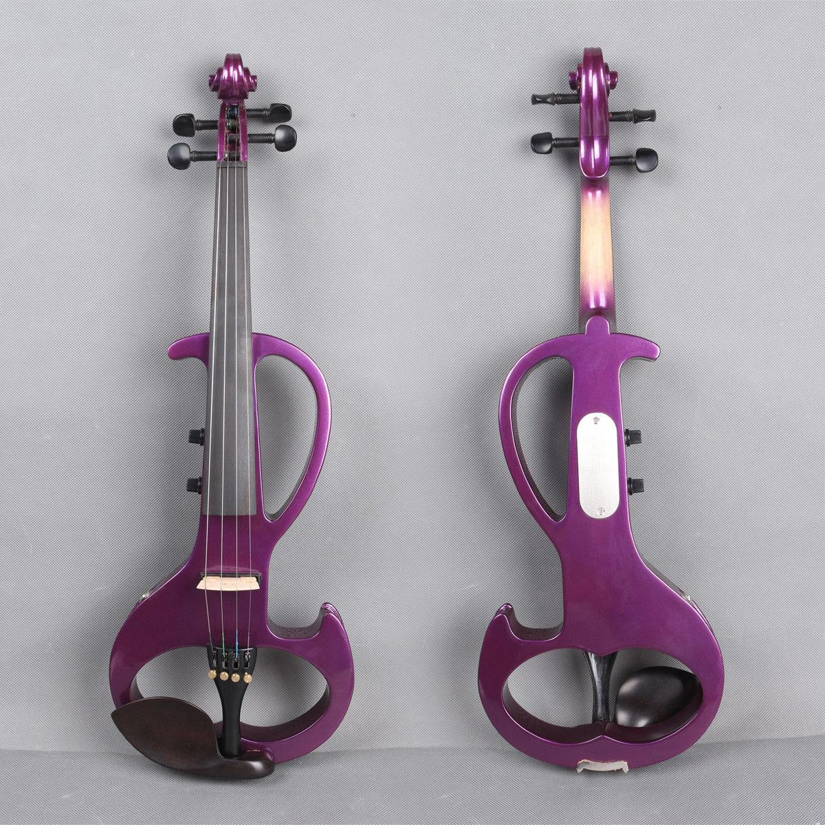 New 4/4 Electric Violin Powerful Sound Big Jack Purple Solid Wood Free Bow  Case
