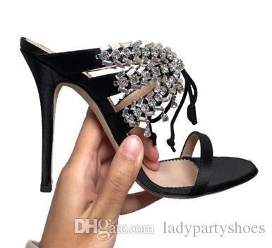 2018 design de luxo sapatos de casamento de cristal mulheres cetim vestido de festa de salto alto bling cross-amarrado sandálias das mulheres sexy stage gladiator shoes