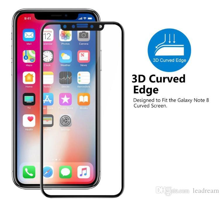 Best quality 3D 4D 5D 9H Full Screen Curved Tempered Glass Protector Hardness Anti-Scratch Film Protectors For iPhone X 8 7 6 6S Plus