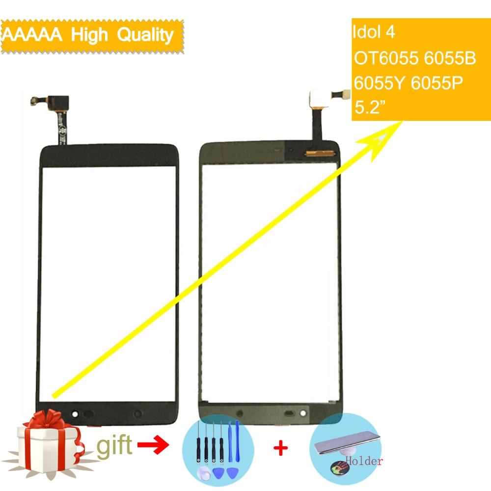 6055 touch screen For Alcatel One Touch Idol 4 LTE OT6055 6055 6055P 6055Y  TouchScreen Sensor Digitizer Glass Front Panel NO LCD